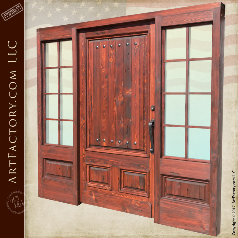 Entrance solid wood door with french pane sidelights for French doors with sidelights