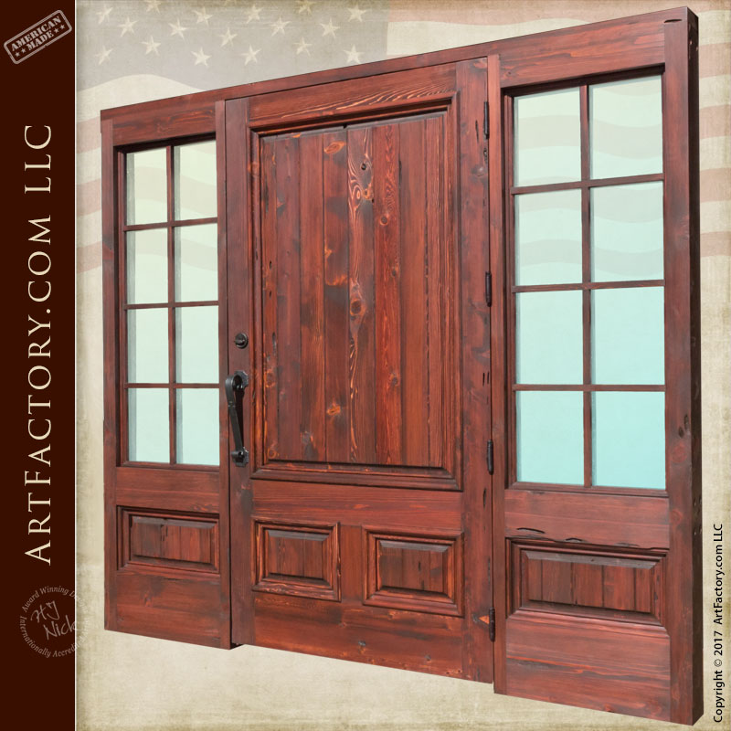 Entrance solid wood door with french pane sidelights for Solid wood french doors