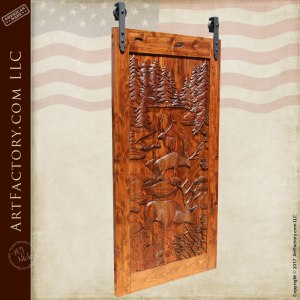 hand carved barn door