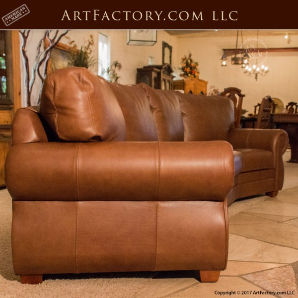 Full Grain Leather Sofas: Custom Full Grain Leather Sofa: Roll Arm Style Curved