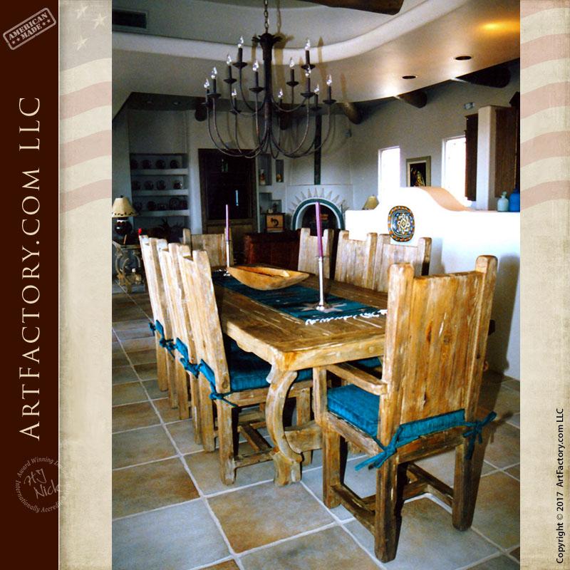 Solid Wood Dining Table Custom Handmade With Ox Yolk Trestle