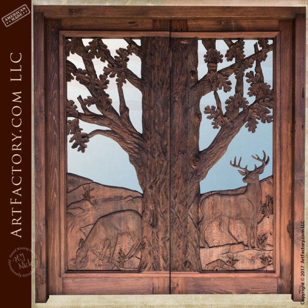hand carved cabin doors