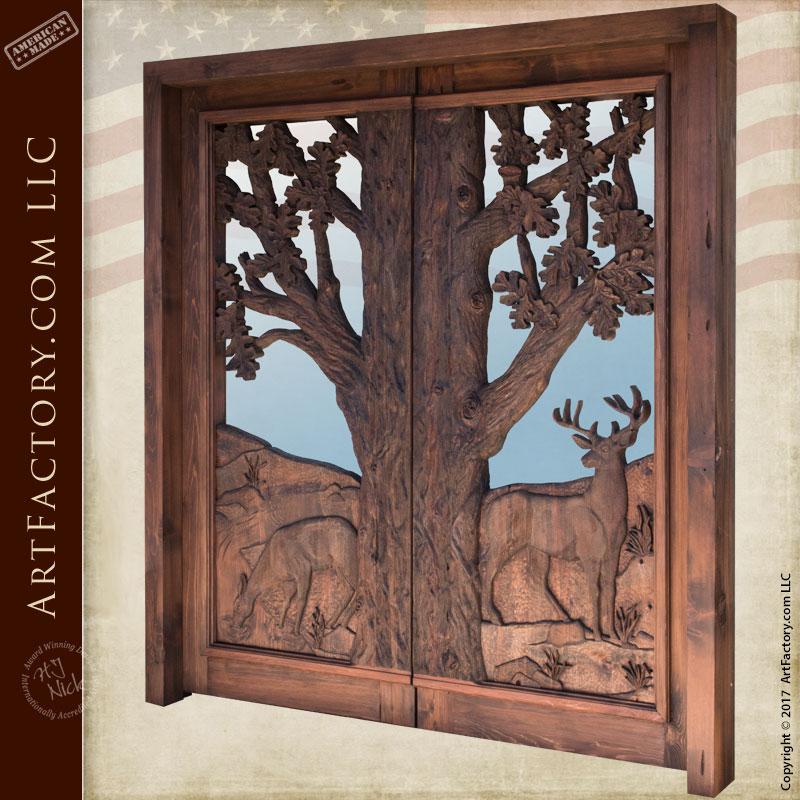 hand carved cabin entrance door