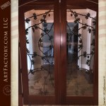 hand forged door grill, wine cellar