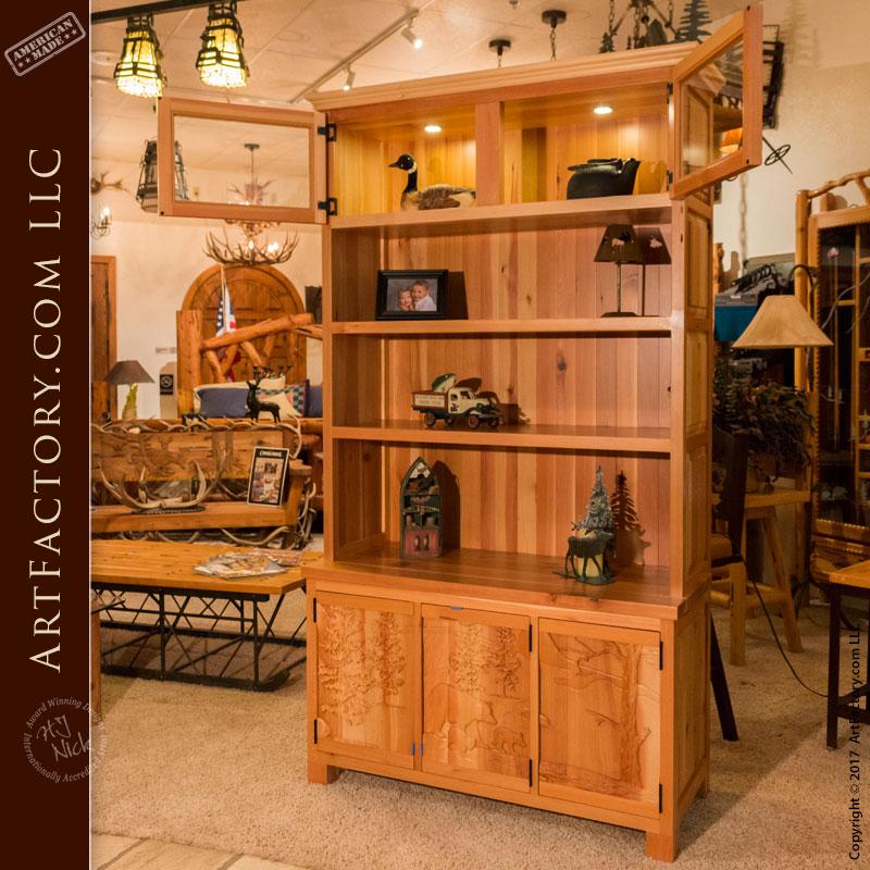 solid wood display cabinet lodge theme hutch
