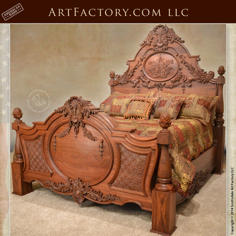 Hand carved walnut bed fine art wood carvings by master craftsmen