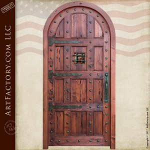 solid wood castle door with custom medieval style hardware