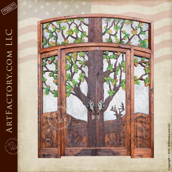 Wilderness theme carved door