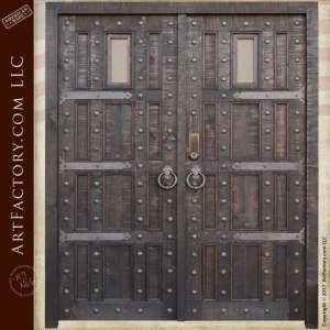 custom castle style entrance double doors wrought iron hardware