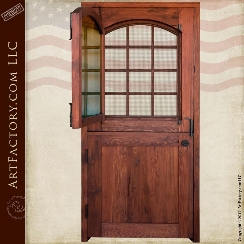 Custom Dutch Door Solid Wood Entry Door With 12 Pane Glass Window