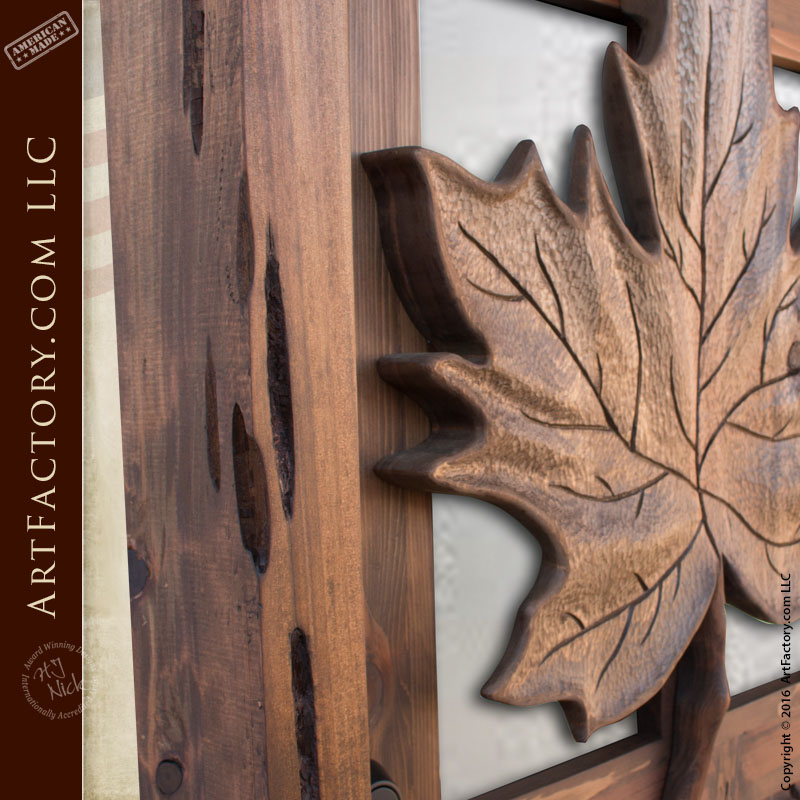 Carved maple leaf theme wood door: custom solid wood front doors
