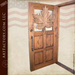 carved maple leaf theme wood door is hand carved by master craftsmen