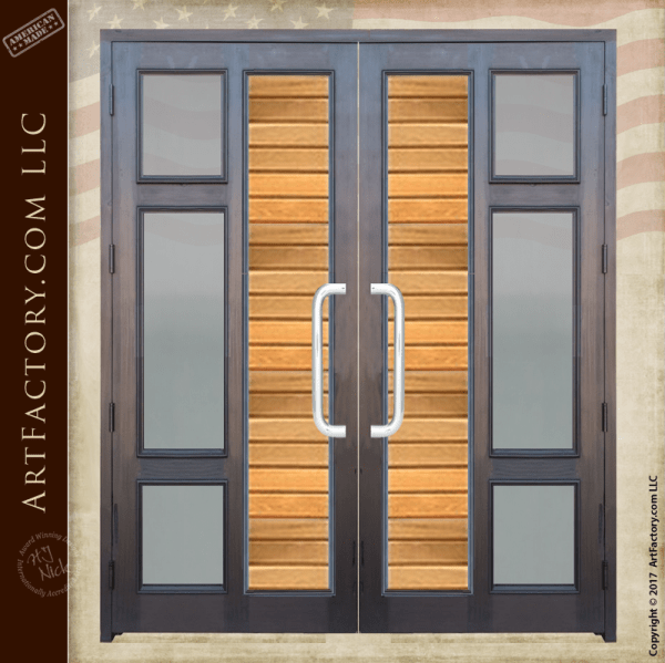 Contemporary Custom Double Doors Handcrafted From Natural
