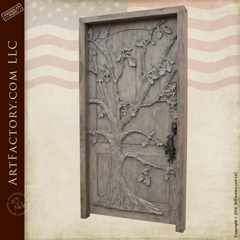 Oak Tree Theme Custom Door Hand Carved Solid Wood Doors