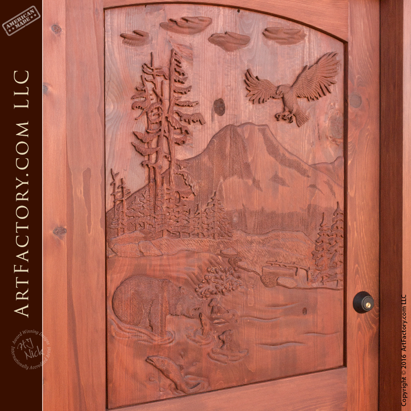 Hand Carved Forest Scene Door