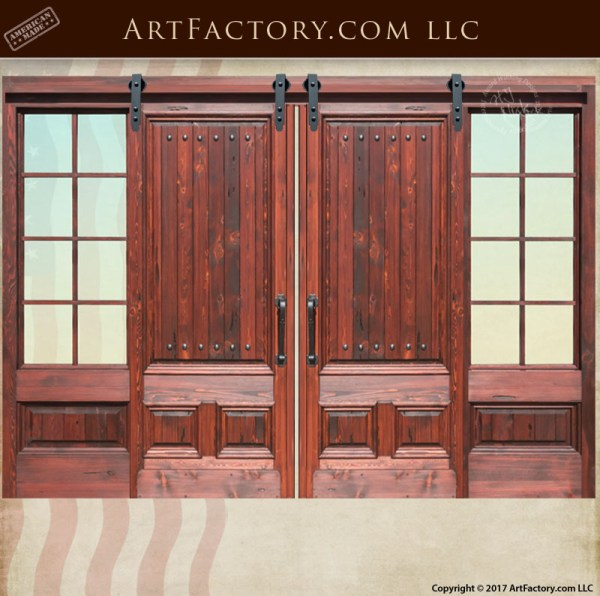 Custom Sliding Wood Doors With 8 Panel Glass Sidelights