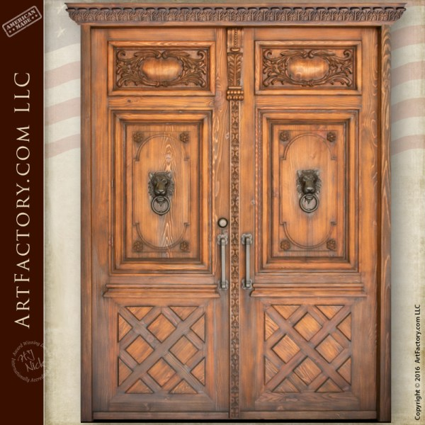 Castle Style Double Doors Hand Carved Wood With Lion Head