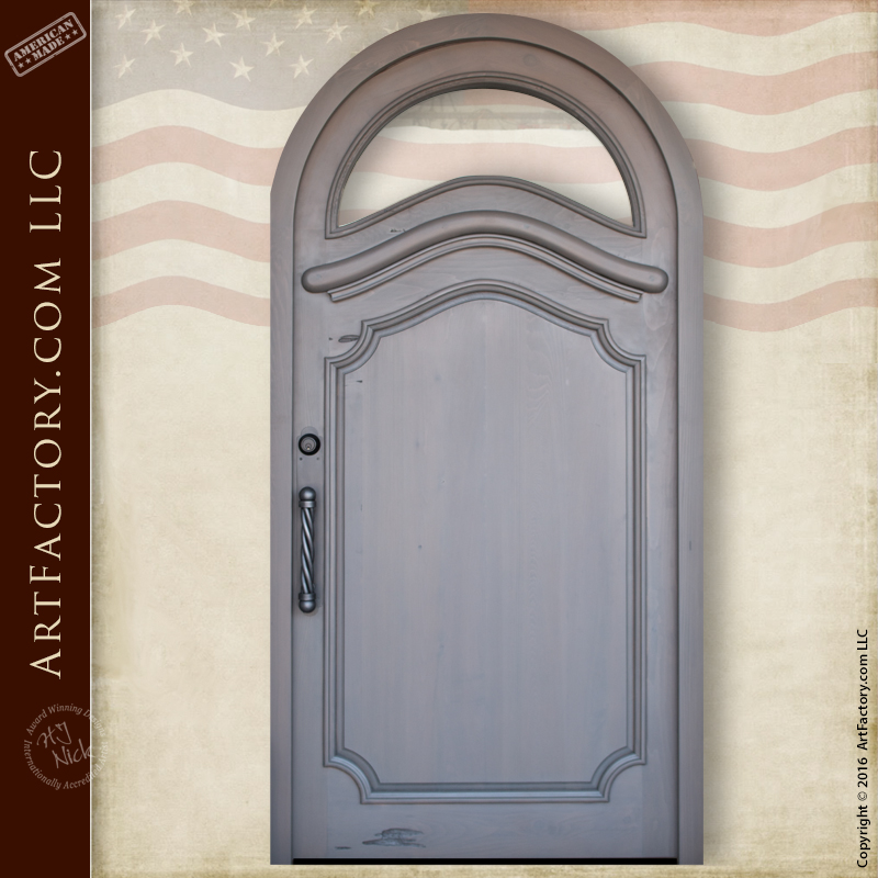 Custom Arched Front Door: With Arch Top Window And Custom Hardware U2013 2284AT