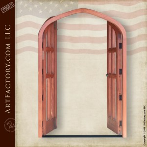 semi arched double glass panel doors