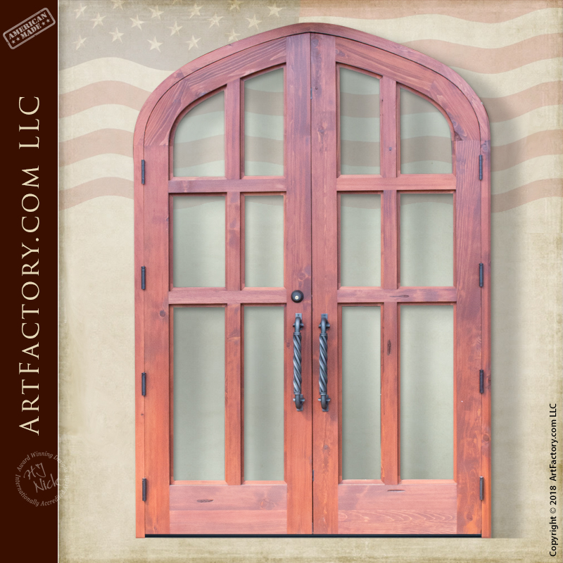 Semi Arched Double Glass Panel Doors Handmade By Master Craftsmen