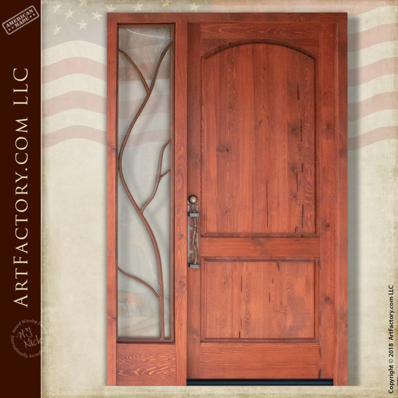Custom Vine Theme Door: Handmade Solid Wood Entrance With Sidelight U2013 ED8708