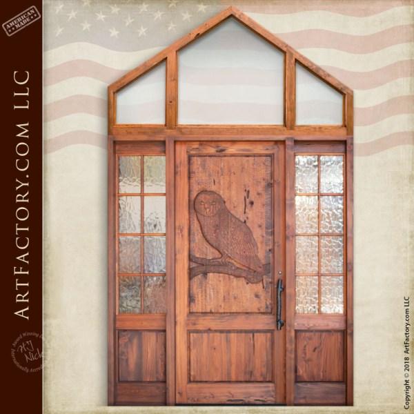 owl carved front door