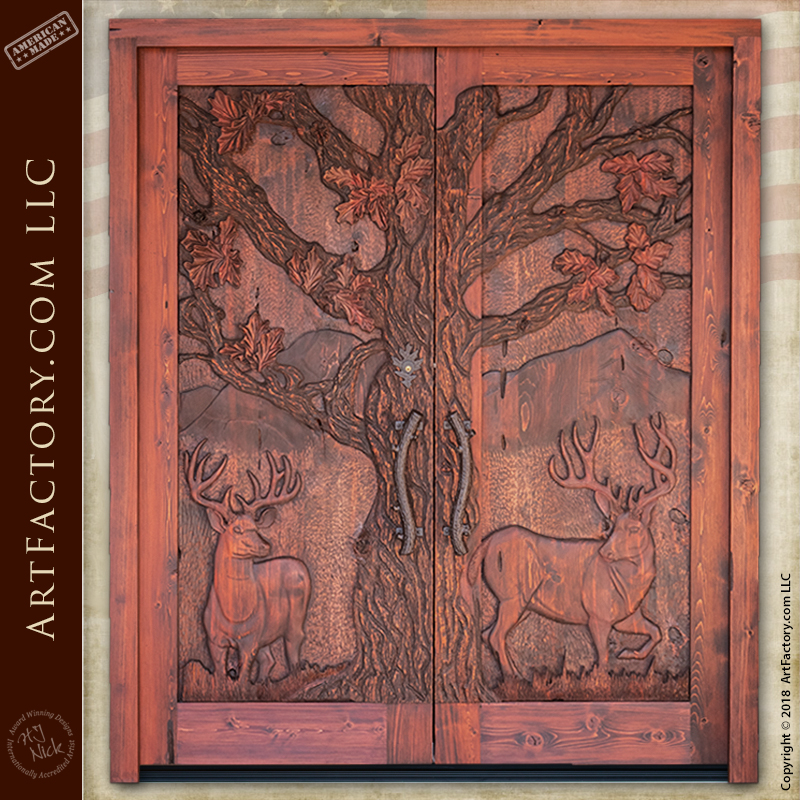 forest inspired hand carved entrance