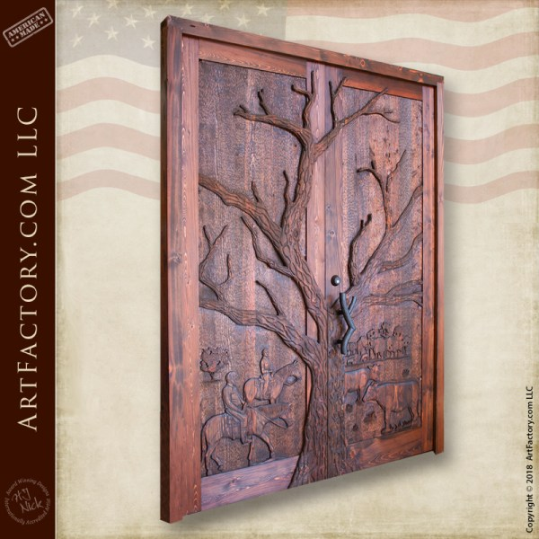 Custom Hand Carved Western Themed Door