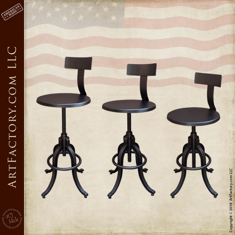 Industrial Iron Bar Stools