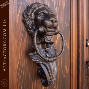 grand English castle entrance with hand forged lion had door knocker