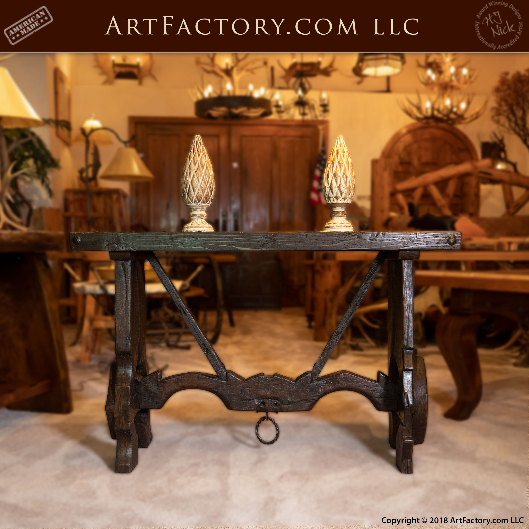 Hand Carved Oxen Yolk and Trestle Sofa Table