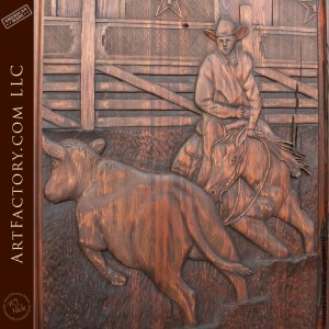 close up cowboy carving