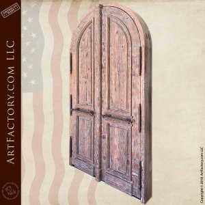 weathered wood double doors front