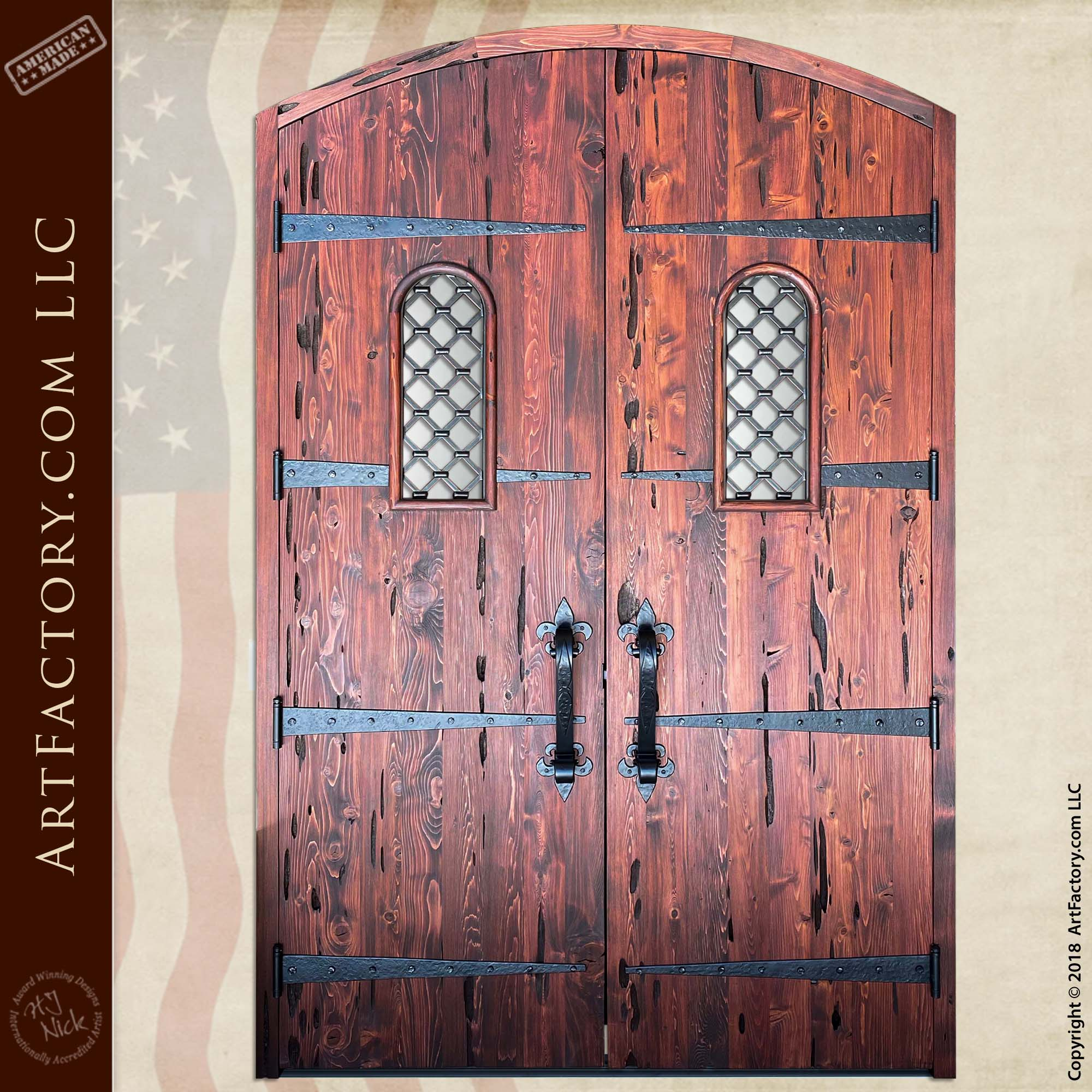 Medieval Style Fortress Door: Forged Iron Hardware