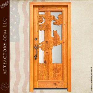 log cabin entry door