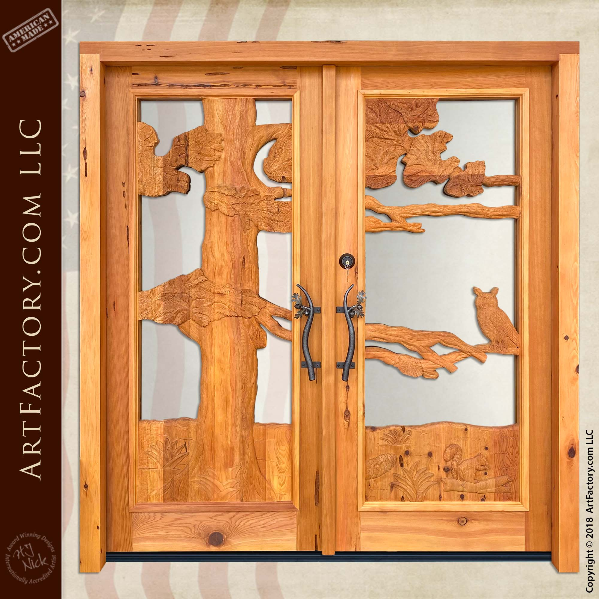 Log Cabin Entrance Double Doors