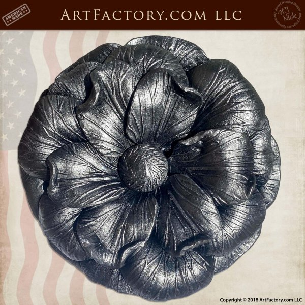 Custom Iron Camellia Flower Door Pull