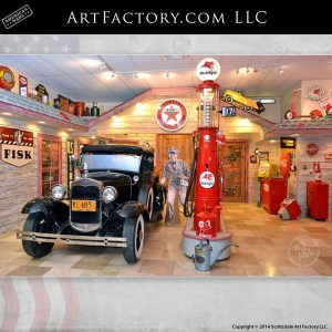 Ford Model A and restored visible gas pump
