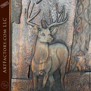 buck in the forest detailed hand wood carving