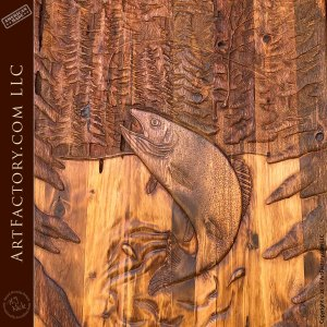 Solid Wood Hand-Carved Lodge Door