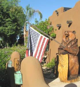 American Bear - Hand Carved American Flag Waver Bear - AMB567