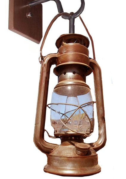 Wrought Iron Old Western Gold Rush Lantern Wall Sconce - LS718A