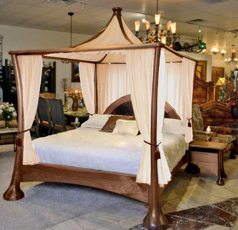 Roma Walnut Contemporary Bed: Contemporary Canopy Bed
