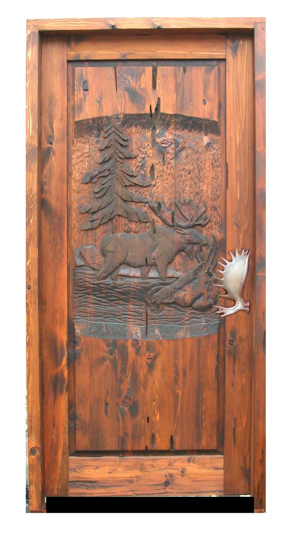 ... Carved Door   Moose Wood Carving Design   7215HC