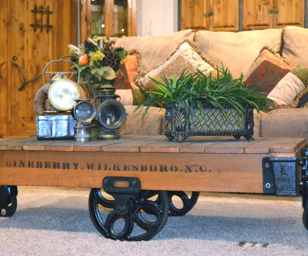 Coffee Table - Antique Factory Cart - AFC648