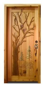 Wood Door Custom - Hand Carved Log Cabin In The Woods - 2335HC