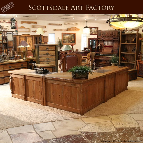 Rustic Americana Hardwood Executive Desk Home Office: Custom Made Wood Office Furniture
