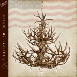 Antler Chandelier With Waterford Crystals - LA211