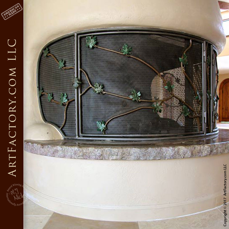 Custom Ivy Design Fireplace Screen: Blacksmith Forged