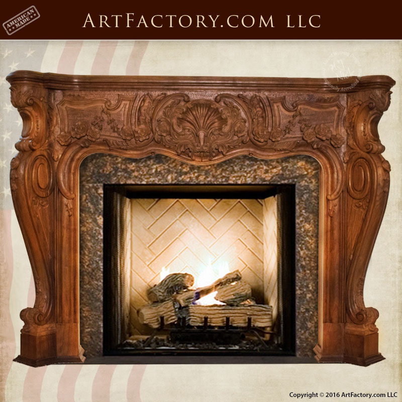 master hand carved fireplace mantel french rococo inspired design rh artfactory com Carved Wood Mantels Shelf Carved Wood Mantels Shelf